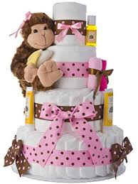 amazon com diaper cake pink monkey theme handmade by lil baby
