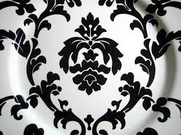 black on white damask exotic wallpaper scroll decorative plate b
