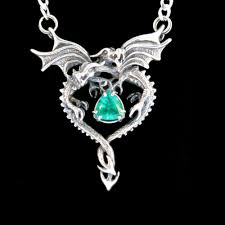 emerald heart necklace images Silver dragon heart pendant with emerald dragon jewelry gothic jpg