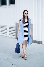 Light Blue Vest Striped Dress Long Blue Vest U2014 Esther Santer