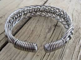 stainless steel cuff bracelet images Men 39 s stainless steel hand bent wire woven wide cuff bracelet jpg