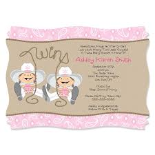Baby Shower Invited Twin Little Cowgirls Western Personalized Baby Shower Invitations