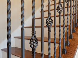 Wood Banisters And Railings Kinsmen Homes Intricate Wrought Iron Stair Railing With Wood