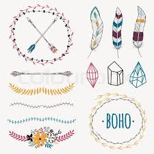 vector colorful ethnic set with arrows feathers crystals floral