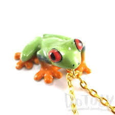 porcelain eyed tree frog shaped ceramic animal pendant
