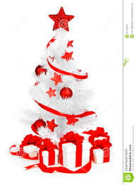 White Christmas Tree With Red Decorations christmas tree with red decor stock photo image 45724335