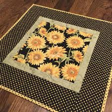 quilted square table toppers quilted sunflower table topper yellow black table topper table