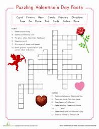 valentine crossword worksheet education com