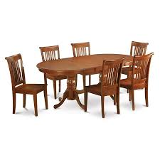 oval dining room set shop east west furniture plainville saddle brown 7 piece dining