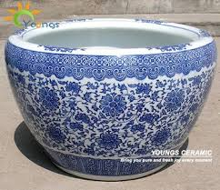 beautiful large chinese blue white ceramic garden floral pots for