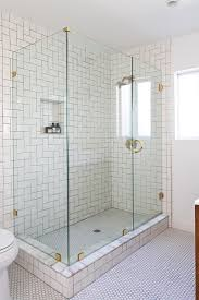 Herringbone Bathroom Floor by Glass And Brass Shower Bathroom Pinterest White Bathrooms