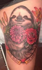 coloured sloth with flowers and quote on hip tattoos book