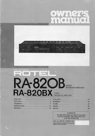 rotel stereo amplifier ra 820bx user guide manualsonline com