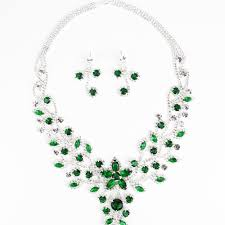 green necklace set images Emerald green silver diamante statement necklace set exzada ltd jpg
