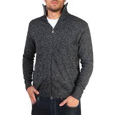 zip up sweater mens woollen knit zip up funnel neck grandad cardigan jumper