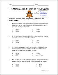 thanksgiving theme elem word problems abcteach