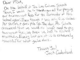 parent teacher student association thank you from students