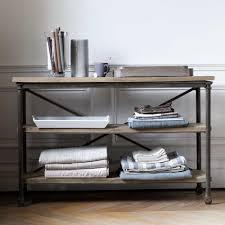 table console pour cuisine table console à roulettes en métal et manguier massif l 130