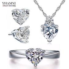 heart ring necklace images Yhamni romantic heart cz bridal jewelry sets for women pure 925 jpg