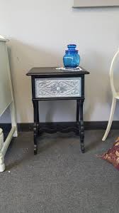 vintage carved shabby chic black u0026 silver metallic table pick up