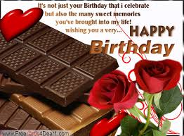 birthday greeting card with roses and chocolate greeting cards