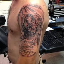 cool grey ink praying on left half sleeve