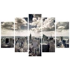 new york skyline wall art shenra com nyc new york skyline 3 pentaptych by elementem photography yliving
