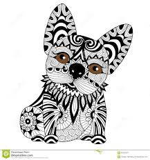 hand drawn zentangle bulldog puppy for coloring page stock vector
