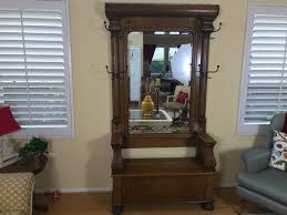 Coat Tree With Bench Antique Tiger Oak Hall Tree With Storage Bench Beveled Glass