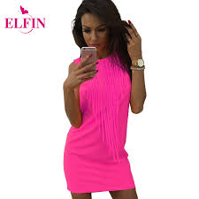 aliexpress com buy women dress tassel fluorescent color