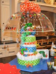 Diaper Cake Using Umbrella And Acrylic Rain Drops For Baby Shower