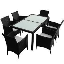Rattan Garden Furniture White Vidaxl Black Poly Rattan Garden Furniture Set 1 Table 6 Chairs