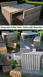 Patio Furniture Pallets by Recycled Pallet Patio Table With Benches Pallet Ideas Recycled