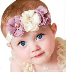 hair chiffon baby gril flower elastic hair band headband kids chiffon 3 flower
