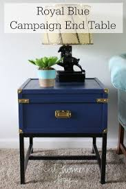 caign style side tables a thrift store find turned into a royal blue caign side table