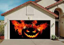halloween decor for garage door outdoor decorations of house