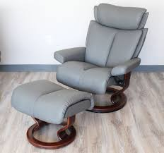 Grey Leather Recliner Stressless Magic Metal Grey Color Leather By Ekornes