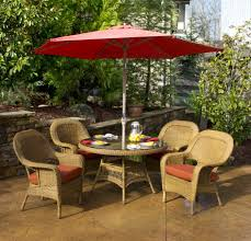 All Weather Wicker Patio Dining Sets - patio furniture with umbrella for sunny summer days