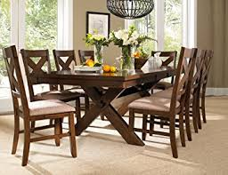 Solid Oak Dining Room Sets Amazon Com Roundhill Furniture Karven 9 Piece Solid Wood Dining