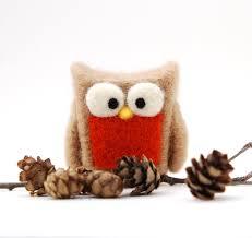 needle felted owl tan orange rust home whimsical decor play
