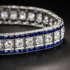 bracelet diamond sapphire images Art deco diamond and sapphire line bracelet jpg