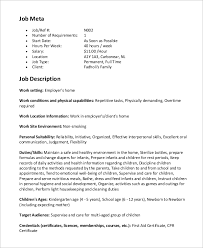 Nanny Job Description On Resume by Sample Nanny Job Description 8 Examples In Word Pdf