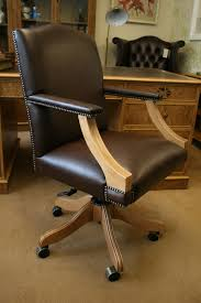 a gainsborough swivel desk chair plain brown leather upholstery thedeskcentre co