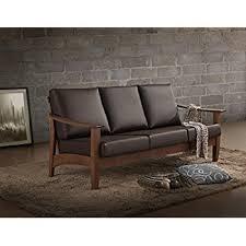 Leather Studio Sofa Baxton Studio Sorrento Mid Century Retro Modern Fabric