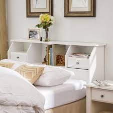 White Bookcase With Storage Amazon Com Headboard With Storage Queen Full Size Bookcase