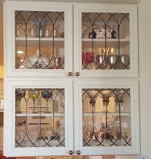 Display Cabinet Doors Leaded Glass Cabinet Doors Transitional Kitchen Regarding