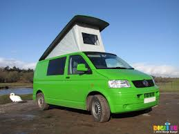 green volkswagen van picture sx12376 our green vw t5 campervan with popup roof up at