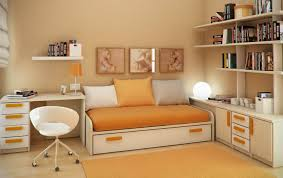 Small Bedroom Bed And Desk Bedroom A Work Desk And Bed Dominant Green Color Room Door Brown