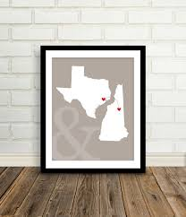 cool wedding presents state map custom engagement gift 8x10 two states map
