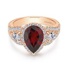 Rose Gold Wedding Ring Sets by 14k Rose Gold Pear Shaped 3 Stone Halo Garnet And Diamond